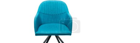 Photo for Comfortable blue modern armchair isolated on white, panoramic shot - Royalty Free Image