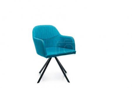 confortable fauteuil moderne bleu isolé sur blanc