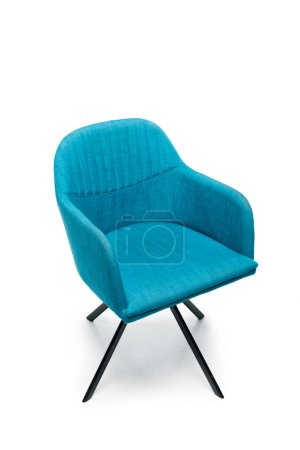 Photo pour Comfortable blue modern armchair isolated on white - image libre de droit