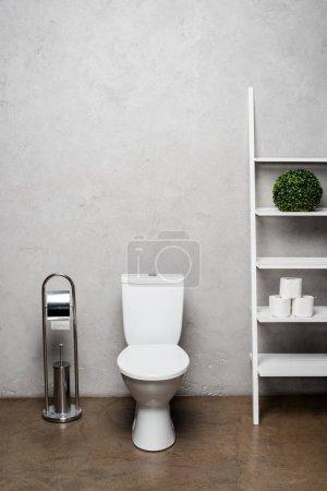 Photo pour Intérieur d'une salle de bain moderne avec cuvette près d'un support avec papier hygiénique près d'une brosse de toilette - image libre de droit