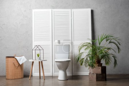 Photo for Interior of modern bathroom with toilet bowl near folding screen, laundry basket, palm tree and decoration - Royalty Free Image