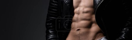 Photo for Panoramic shot of shirtless man in black leather jacket, isolated on grey - Royalty Free Image