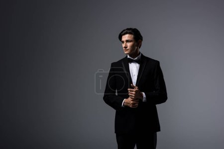 handsome man in black suit and tie bow, isolated on grey