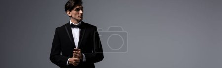 Photo for Panoramic shot of handsome young man in suit, isolated on grey - Royalty Free Image