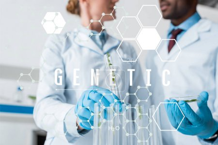 Photo for Cropped view of multicultural biologists holding test tubes with genetic illustration - Royalty Free Image