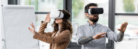 Photo for Panoramic shot of virtual reality architects in virtual reality headsets - Royalty Free Image
