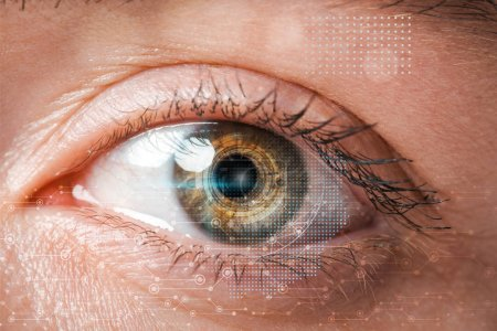 Photo for Close up of woman looking at camera, internet security concept - Royalty Free Image