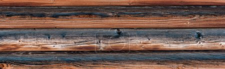Photo for Wooden natural textured brown surface with copy space, panoramic shot - Royalty Free Image