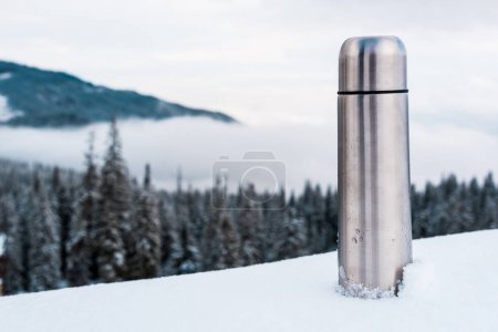 Photo pour Fiole à vide métallique dans les montagnes enneigées avec des pins et des nuages blancs pelucheux - image libre de droit