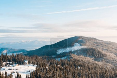 Photo pour Vue panoramique du petit village dans les montagnes enneigées avec des pins au soleil - image libre de droit