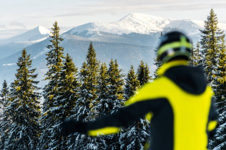 Photo for Selective focus of white snow on green firs near sportsman in helmet - Royalty Free Image