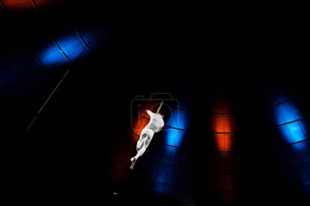 Photo for Back view of acrobat performing on pole in arena of circus - Royalty Free Image