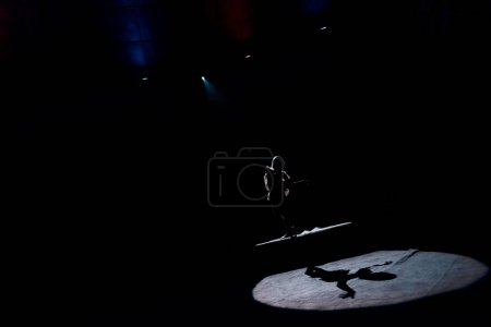 Photo pour Silhouette of aerial acrobat on rope in circus - image libre de droit