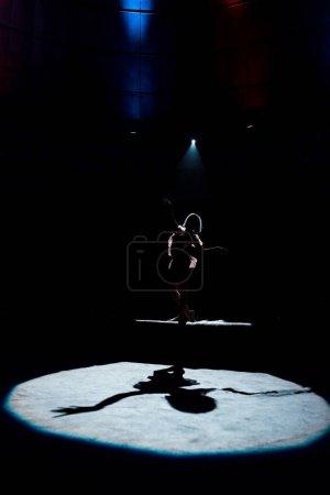 Photo pour Silhouette d'acrobate flexible sur corde au cirque - image libre de droit