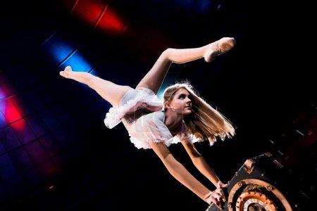 Photo pour Flexible fille faire handstand tout en effectuant dans arène de cirque - image libre de droit