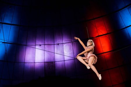 Photo for Low angle view of happy artistic aerial acrobat performing in circus - Royalty Free Image