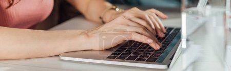 Photo pour Prise de vue panoramique du directeur artistique tapant sur clavier d'ordinateur portable - image libre de droit