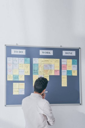 back view of scrum master standing near board with sticky notes and letters