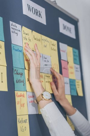 cropped view of scrum master touching sticky notes with letters in office
