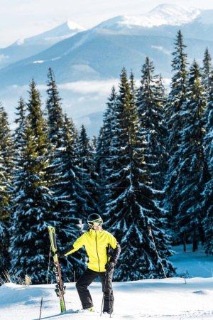 Photo pour Skieur tenant des bâtons de ski debout sur la neige près des pins - image libre de droit