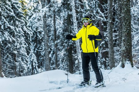 Photo for Skier in helmet holding ski sticks while standing near pines in wintertime - Royalty Free Image
