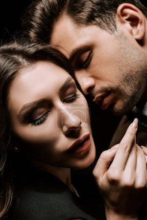 Photo for Close up of handsome man and woman with closed eyes - Royalty Free Image