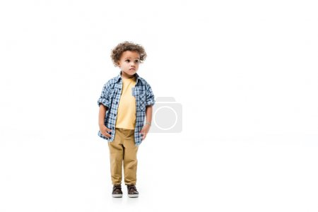 sad african american boy isolated on white