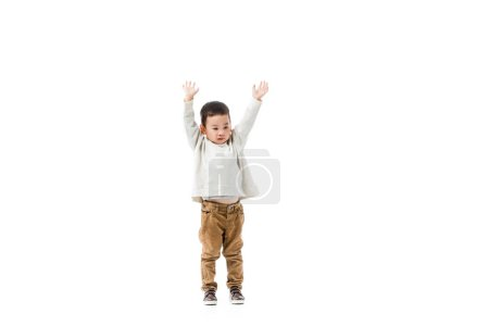 Photo for Little asian boy jumping isolated on white - Royalty Free Image