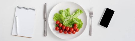 Top view of notebook, raw vegetables on plate and smartphone on white background, panoramic shot