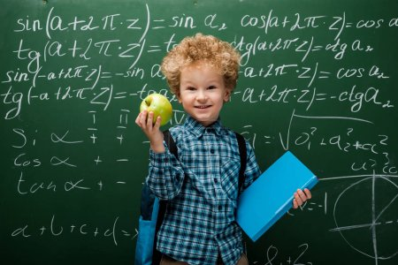 cheerful kid holding apple and book near chalkboard with mathematical formulas