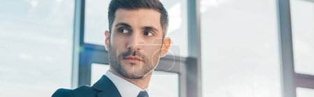 Photo for Panoramic shot of handsome professional businessman standing in office with sunlight - Royalty Free Image