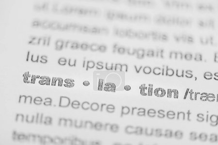 close up of word translation in text