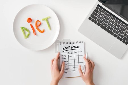 Photo for Top view of woman holding pen and notebook with diet plan near lettering diet from vegetable slices on plate and laptop on white background - Royalty Free Image