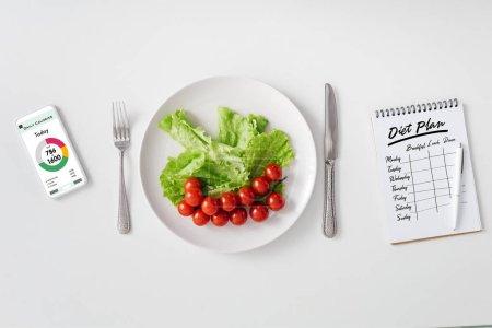 Photo pour Vue du dessus des légumes frais sur assiette, smartphone avec application de comptage des calories et ordinateur portable avec plan de régime sur fond blanc - image libre de droit