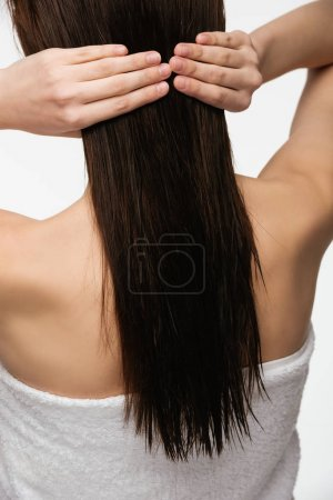 back view of young brunette woman touching clean long hair isolated on white