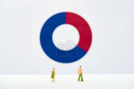 Photo pour Concentration sélective des personnages sur la surface blanche avec diagramme à l'arrière-plan, concept d'inégalité - image libre de droit