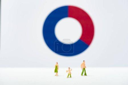 Photo pour Concentration sélective des personnages sur la surface blanche près du diagramme en arrière-plan, concept d'inégalité - image libre de droit