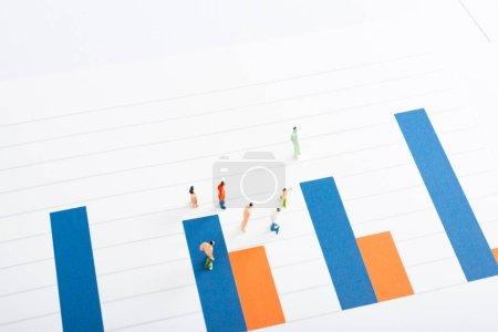 Photo pour Vue en angle élevé de figurines de personnes jouet sur la surface de graphiques isolés sur blanc, concept d'égalité - image libre de droit