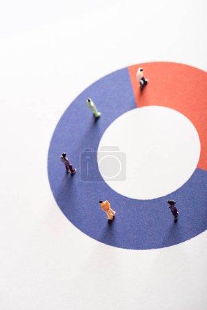 Photo pour Vue en angle élevé des figures de personnes sur le diagramme rond rouge et bleu sur la surface blanche, concept de disparité - image libre de droit