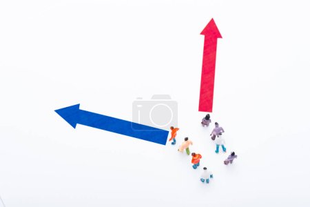 Top view of people figures near blue and red pointers isolated on white, concept of equality