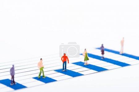 Photo pour Concentration sélective des graphiques bleus et des personnages isolés sur le blanc, concept d'égalité - image libre de droit