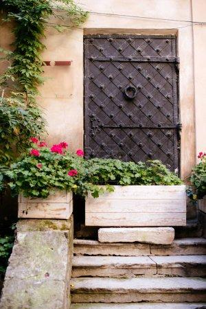 Photo pour Façade d'un bâtiment avec escalier et boîtes en bois avec plantes - image libre de droit