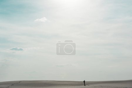 Photo for Beautiful beach with white sand and blue sky with shining sun - Royalty Free Image