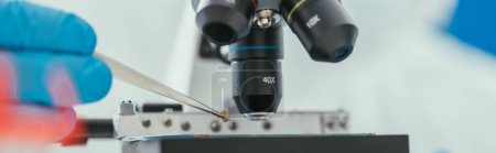 Photo for Cropped view of biochemist holding tweezers near microscope, panoramic shot - Royalty Free Image