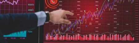 Photo for Cropped view of computer systems analyst pointing with finger at graphs on computer monitor, panoramic shot - Royalty Free Image