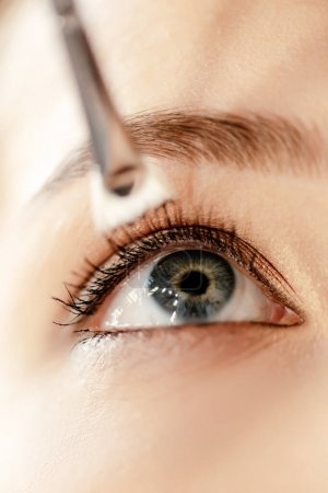 Photo pour Gros plan de la brosse cosmétique près du sourcil du modèle - image libre de droit