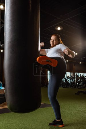 Photo for Energized overweight girl kicking punching bag with leg in gym - Royalty Free Image