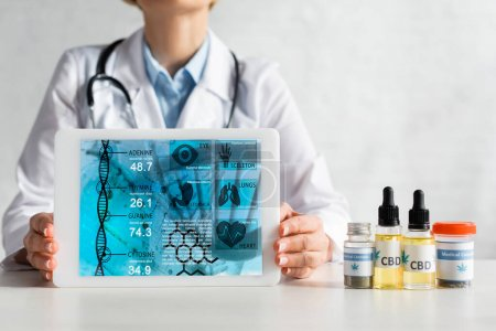 Photo for Cropped view of mature doctor in white coat holding digital tablet with medical app near bottles with cbd and cannabis lettering - Royalty Free Image