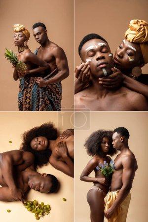 Photo pour Collage de sexy nu tribal afro couple sur beige - image libre de droit