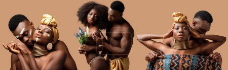 collage of sexy naked tribal afro couple posing isolated on beige